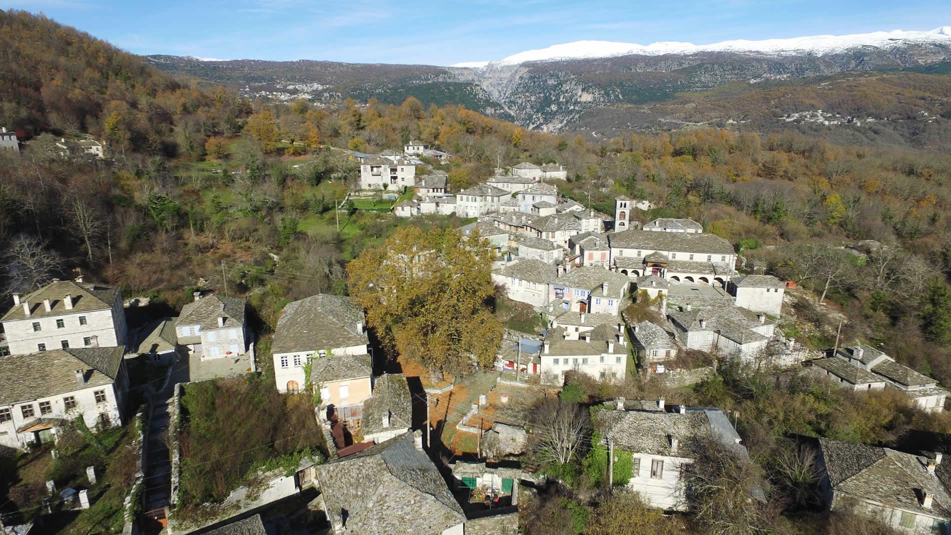 Drone photo of Dilofo village in Zagori